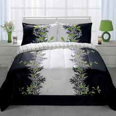 The Belaire Lime 4 Piece Comforter Sets feature a striking motif of. Lime Green Rooms, Comforter Sets, Bedding, White Rooms, Bed Spreads, My Room, Comforters, Master Bedroom, Home Improvement