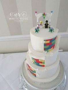 Three Tier Lego Themed Wedding Cake Huddersfield | by White Rose Cake Design