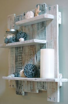 Note: this is handmade to order. Quantity in listing does not reflect actual shelves in stock. It keeps our item from being sold out so fast :) Whether you are decorating a beach inspired seaside retreat or in need of a trendy, weathered pallet wood shelf you will find this reclaimed wood piece adds style and function to your space. Materials/Specs: -20.5 x 22 x 3.5 inches handcrafted solid oak and pine pallet wood shelf -sanded smooth and white washed, there is no blue paint on this piece. ... Baden, Pallet Ideas, Wooden Pallet Projects, Diy Furniture Projects, Diy Pallet Furniture, Diy Furniture Chair, Diy Projects, Pallet Home Decor, Wood Projects For Beginners