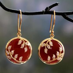 Cubic Zirconia Jewelry Red onyx and cubic zirconia dangle earrings, 'Eternally Entwined' - Hand Crafted Red Onyx and Cubic Zirconia Dangle Earrings - Hand Crafted Red Onyx and Cubic Zirconia Dangle Earrings Jewelry Design Earrings, Gold Earrings Designs, Necklace Designs, Beaded Jewelry, Jewelry Necklaces, Dangle Earrings, Stylish Jewelry, Fashion Jewelry, Gold Mangalsutra Designs