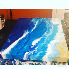 Acrylic Painting Video Acrylic pour using the blow dryer to create a painting. Watch the full video!Acrylic pour using the blow dryer to create a painting. Watch the full video! Abstract Ocean Painting, Acrylic Painting Lessons, Acrylic Painting Tutorials, Pour Painting, Painting Videos, Diy Painting, Nautical Painting, Abstract Canvas Art, Acrylic Pouring Art