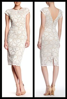 5fa9aa4a898e2 New ABS Allen Schwartz Lace Sheath Dress With Exposed Back Zip Ivory Size  Medium #MichaelKors