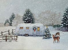 """White Christmas"" 1955 Airstream Flying Cloud by Paige Bridges"