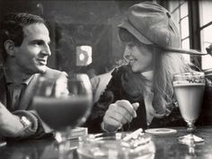 Director Francois Truffaut with actress Julie Christie during a break in filming Farenheit 451