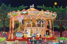 Carousel By Moonlight by Agnes Bogaert, size: 40cmX60cm. Painting matierial: Gouache on canvas