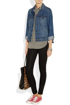 Easy casual outfit formula for gals on the go. Love the pattern mixing and the glitz!