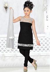 Black Cotton Readymade Churidar Kameez