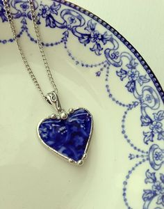 Broken china necklace heart pendant Antique flow blue floral broken china jewelry 100 year old china