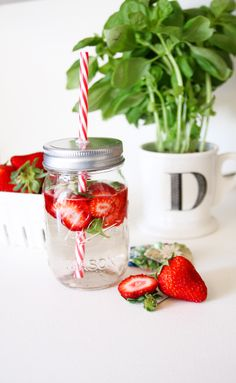 Staying cool with strawberry & basil infused water XO via Inspire Lovely ETSY & http://www.debeecampos.blogspot.com/