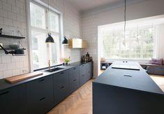 Kitchen Furniture, Kitchen Interior, Kitchen Decor, Furniture Stores, Office Furniture, Green Kitchen, New Kitchen, Black Ikea Kitchen, Black Kitchens