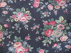 Cath Kidston Trailing Floral Dark Grey Cotton Canvas