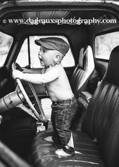 © www.dageauxsphotography.com / toddler photography / old trucks / newsboy cap / toddler boys / blue jeans and pickup trucks / black and white photography