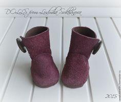 Купить Сапожки для куколки - бордовый, куклы и игрушки, обувь ручной работы, обувь на заказ