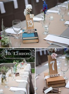 old books as centerpieces - antiguos libros como centros de mesa