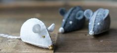 If you're not afraid of a little sewing, these felt mouse toys are darling