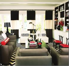 I would love to do this one day in my dream home!   Mary McDonald......http://alkemie.blogspot.com/2010/10/mary-mcdonalds-interiors-color-intense.html