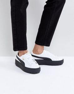Image 1 of Puma Platform Trace Sneakers In White Black With Gum Sole White  Platform Sneakers dd8659b83a2