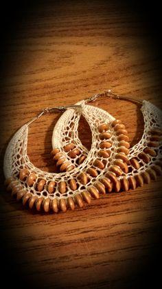 Best 12 Beaded Crochet Hoop Earrings by SoSweetSoSassy on Etsy Crochet Jewelry Patterns, Crochet Earrings Pattern, Crochet Accessories, Handmade Bracelets, Handcrafted Jewelry, Macrame Jewelry Tutorial, Jewelery, Jewelry Gifts, Beaded Crochet