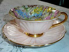 Shelley Fine Bone China, England at it's finest.... Pink Oleander shape... Pattern -. Rock Garden - Chintz.design.... trimmed in heavy gold... oooo lala...