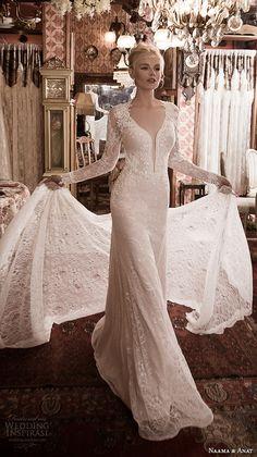 naama anat fall 2016 bridal dresses gorgeous sheath wedding dress long sleeves deep plunging neckline style fabulous