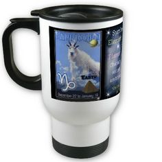 WhiteCapricorn Zodiac Travel Mug by ValxArt.com    What chinese zodiac year and sign are you ? Valxart has many Zodiac designs including 12 zodiac, 12 zodiac cusp , 60 years of chinese zodiac , and 780 designs for 60 years of Chinese year zodiac combined with 12 zodiac designs with horoscope forecast . If you do not see product, year or zodiac sign desired, contact Valxart  info@valx.us for links.