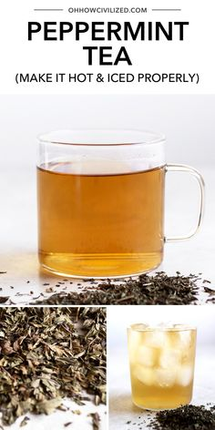 This delicious peppermint tea from Oh, How Civilized is a perfect choice for drinking hot and iced. Find out how to make the perfect cup of peppermint tea every time using this simple to follow guide. Full of delicious flavor and so soothing, grab this delicious tea recipe and try a refreshing peppermint tea today. #tea #pepperminttea #herbaltea #tearecipe Yummy Drinks, Healthy Drinks, Making Herbal Tea, Peppermint Tea Benefits, Tea Recipes, Drink Recipes, Cuppa Tea, Tea Tins, Tea Sandwiches