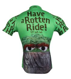 Oscar the Grouch Men's Cycling Jersey - Back View - FREE Shipping - Get even MORE Brainstorm colorful jerseys at http://www.cyclegarb.com/brainstorm-gear.html