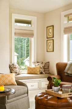 window seat and color palette | Garrison Hullinger Interior Design