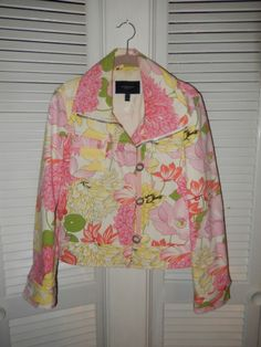 Burberry Floral Print Motorcycle Style Cotton Jacket Size 10 NWOT