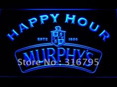 638 Murphy's Happy Hour Beer Bar LED Neon Light Sign Man Cave