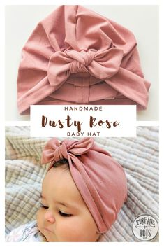 This adorable Dusty Rose baby hat is the perfect touch to any baby girl outfit! Great as a hospital hat, or keeping that baby head warm in winter. Handmade with a soft jersey fabric that stretches. - Turbans for Tots Baby Turban, Turban Hat, Turban Headbands, Turban Headband Tutorial, Girl Headbands, Headband Baby, Baby Girl Hats, Girl With Hat, Baby Bows