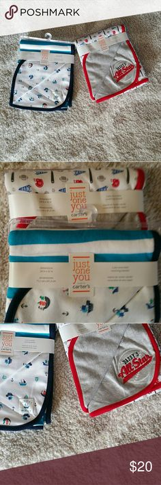 Carter, baby blankets 2 brand new baby boy blankets. One is boats with blue trim. The other one is Daddy's ALL-STAR (sports) with red trim.  To save in shipping bundle!, of you have any questions please don't hesitate to message me. happy poshing! Carter's Other