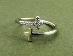 Women's Teen's Sideways Double Cross Ring with Crystal Silver Rhodium Plated Size Adjustable RC10 on Etsy, $9.00