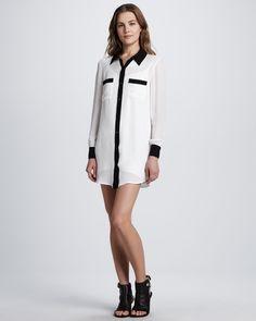 Haute Hippie Colorblock Silk Shirtdress - Neiman Marcus