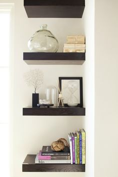Use your corners - Master bedroom idea...O maybe do this for maekshift makeup area?? but use rounded shelves?