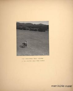 Mount Holyoke View Book, students carrying golf bags on the Orchard Golf Course :: Archives & Special Collections Digital ImagesMount Holyoke View Book, scenes of a horse show on Pageant Field and students playing golf at the Orchards Golf Club :: Archives & Special Collections Digital Images :: circa 1933-1936