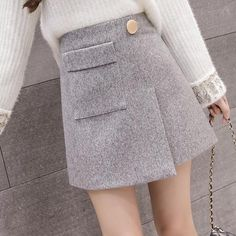 79792eb812c9 2018 Autumn Winter Wool High waist Skirt Korean Wild Slim A Line Package  Hip Skirts Female