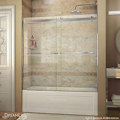 The DreamLine Essence frameless sliding bypass shower or tub door showcases a modern, elegant design with a striking silhouette. The Essence provides smooth gliding action with its sleek rollers without the significant framing of a typical bypass shower d Bathtub Shower Doors, Frameless Shower Doors, Glass Shower, Tub Enclosures, Shower Enclosure, Dreamline Shower, Primitive Bathrooms, Sliding Patio Doors, Small Bathroom