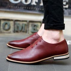 Lace up Red / Autumn Loafers Men Oxford Flat Shoes Top brand Men Moccasins Shoes Leather Men Shoes Casual zapatos hombre Mens Leather Loafers, Leather Flats, Loafers Men, Leather Men, Soft Leather, Bonded Leather, Lace Up Shoes, Men's Shoes, Dress Shoes