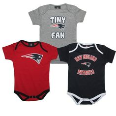 #Patriots Infant 3pc Foldover Onesie Set. Chayse would love this. :)