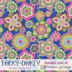"""""""Boho Garden"""" in Dreams colorway, part of the """"Folky-Dokey"""" collection, fabric…"""