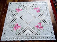 Hardanger Embroidery Doily with Spring Flowers Handmade from Germany | eBay