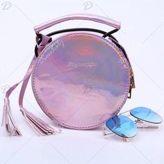 Trendy Round Shape and Tassel Design Women's Crossbody Bag, PINK in Crossbody Bags   DressLily.com