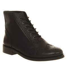 Office Crampton Brogue Lace Up Black Leather - Ankle Boots