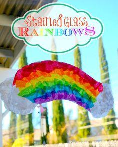Rainbow Crafts: tissue paper, wax paper, glue