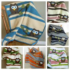 PDF Owl Baby Blanket Crochet Pattern. $12.00, via Etsy. Not free but by far my favorite looking owl. Now I wish there was a way to incorporate this into a granny square type blanket. I prefer the alternating repetition look.