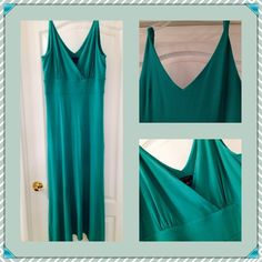 Ann Taylor Teal Green Maxi Dress This is so gorgeous and comfortable. It has 7% spandex. Stretchy and figure flattering. The top of shoulder straps are twisted, deep V neck with empire waist that is banded. Asymmetrical along bottom. Great dressed up with jewelry and heels or layered with some great Boots. Worn once and laundered. 93%Rayon cotton. Ann Taylor Dresses Maxi