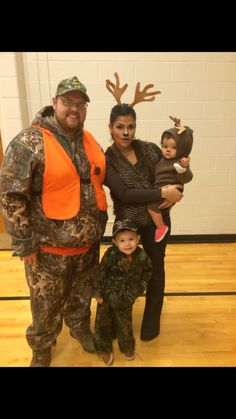 Easy, Last minute Family Halloween Costume. Hunter/Deer costume