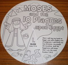 Moses Bible Book & Tract Depot: Colour Your Own 10 Plagues Wheel Sunday School Activities, Sunday School Lessons, Sunday School Crafts, Preschool Bible, Bible Activities, Children Activities, Bible Lessons For Kids, Bible For Kids, 10 Plagues