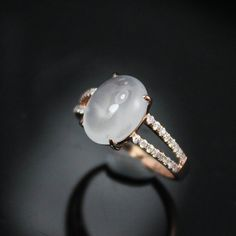 2 Carat Moon Stone Engagement Ring Diamonds by SteveleeJewelry. Who said engagement rings had to be diamonds!?